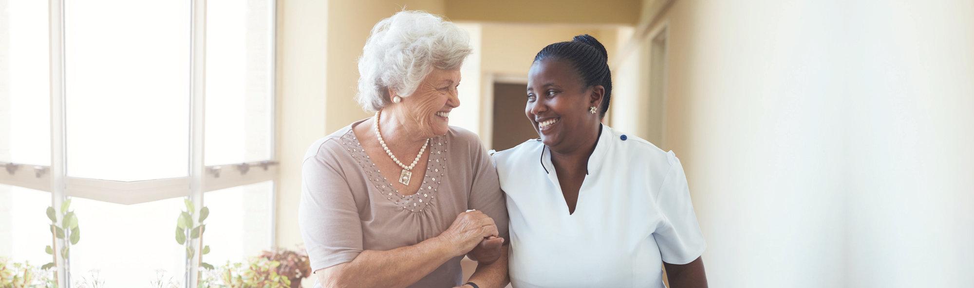 Elderly and female staff