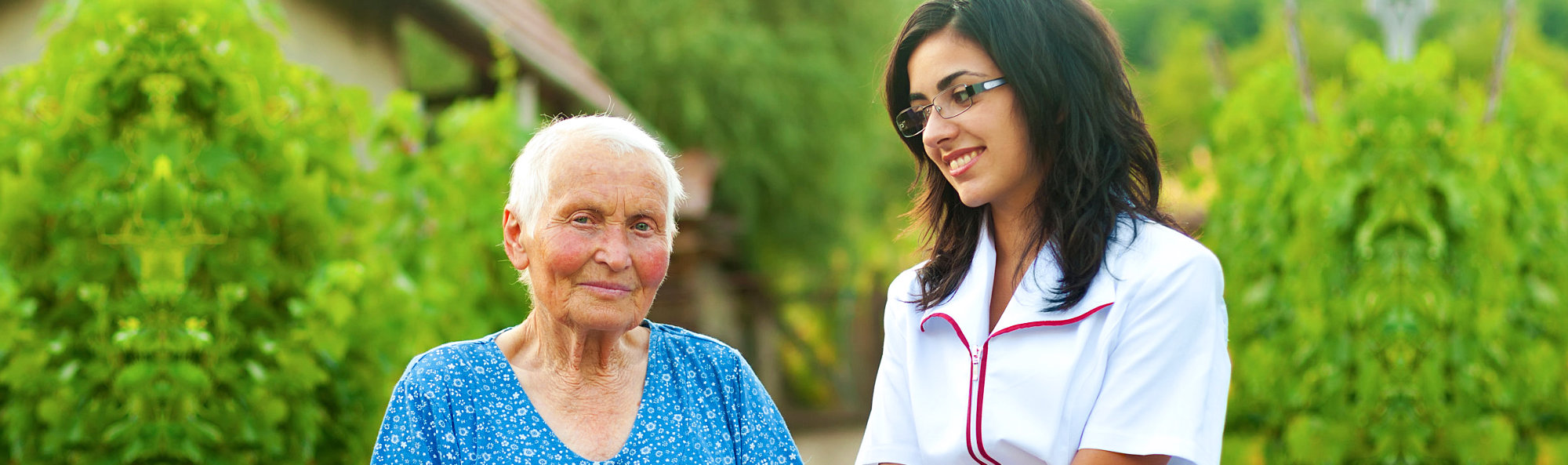 Elder and female caregiver