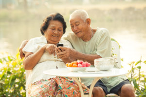 Elder couple having fun